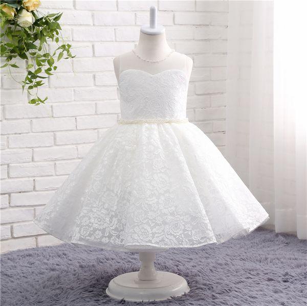 Vestido de niña de flores de encaje para bodas sin mangas O-cuello Vestido de niña de imagen real para adolescentes TZ003