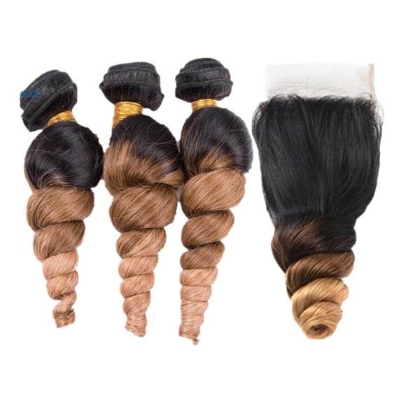 Ombre Color Loose Wavy 3Bundles Wefts With Lace Closure Two Tone Color Blonde 1B 4 27 Hair Weaves Extension With Top Closure