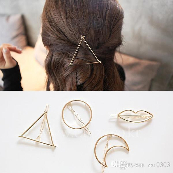New Brand Hairpins Triangle Moon Hair Pin Jewelry Lip Round Hair Clip For Women Barrettes Head Accessories Bijoux