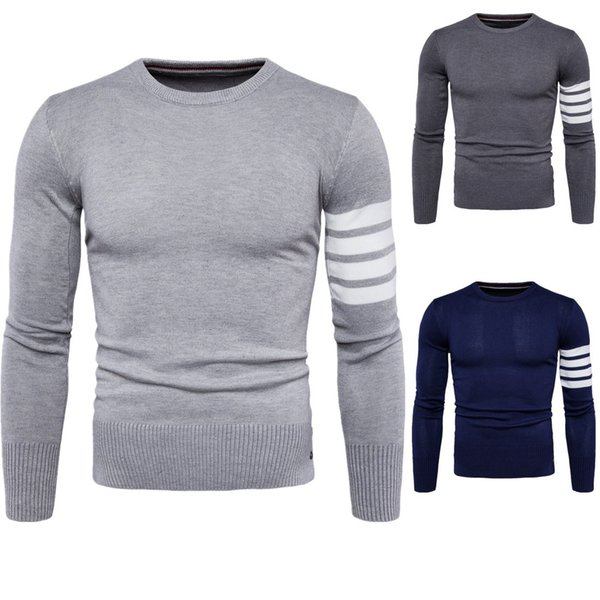 free shipping wholesale Autumn new men round neck sweater cuff fight color men sweater navy blue gray color