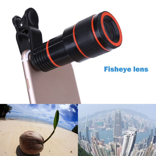 cell phone Telescope Lens 8x Zoom universal Optical Camera travel Telephoto lens with clip Kit for Iphone Samsung HTC Sony LG Android