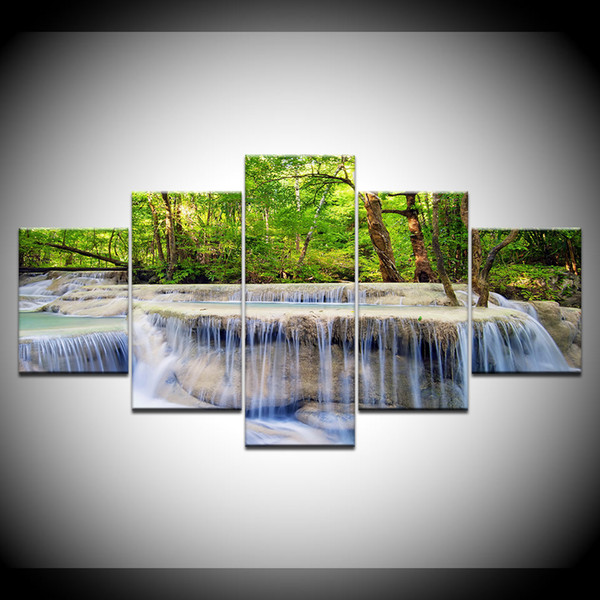 5 Pieces Natural Scenery Oil Painting On Canvas Modern Home Decoration Waterfall Landscape Wall Art Picture Print Poster No Frame