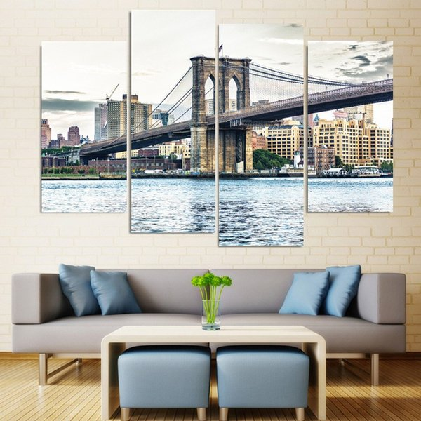 2019 Canvas Painting New York Brooklyn Bridge Landscape Canvas Poster Print  For Living Room Home Wall Decoration No Frame From Onlybrand, $32 89 |