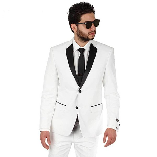 Custom Made 2018 White Black Lapel Men Suits Tuxedo Wedding Suits Formal Bridegroom Groom Prom Skinny Best Man 2 Piece Blazer (Jacket+Pants)