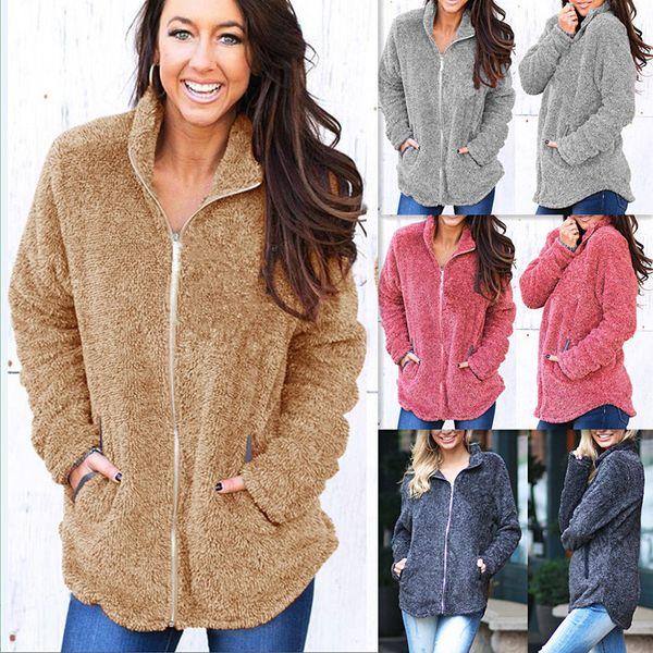Women Sherpa Hoodies Long Sleeve Jacket With Zipper Fall Winter Thicken Soft Fleece Sweatshirt Cardigan Female Loose Streetwear Pockets Coat