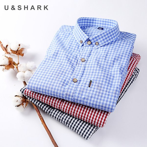 Autumn new Slim Fit plaid mens Dress shirts mens smart casual shirt man Long Sleeve Cotton shirt water washed home male shirts