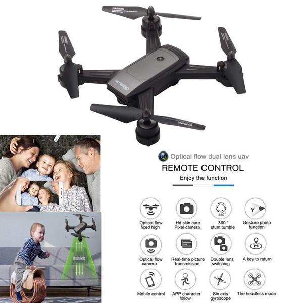 Nouvelle arrivée RC Quadcopter double caméra Wifi RC Drone Flux optique double lentille Gesture Photo hélicoptère 720 P vidéo caméra cadeau de Noël avec forfait