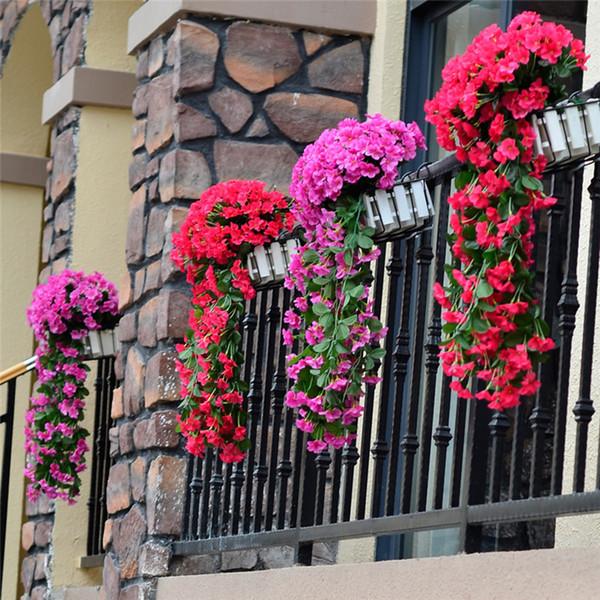 Renkli Yapay İpek Menekşe sarmaşık Çilek Garland Duvar Asma Bitki için Düğün Partisi Ev Bahçe Balkon Dekorasyon