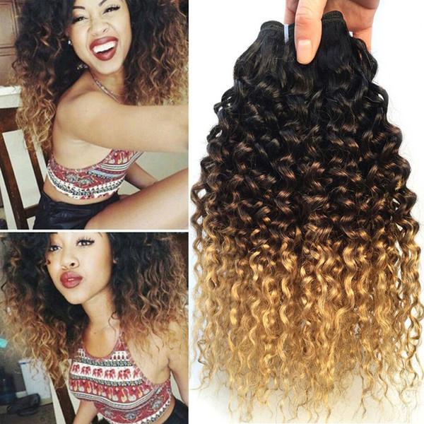 Kinky Curly Weave Feixes de Cabelo Humano Ombre Malaio Tecer Cabelo Bundles 3 Tons 1B / 4/27 Extensões de Cabelo Remy Malaio