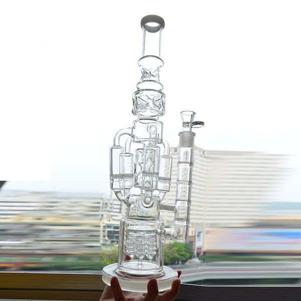"""Straight Tube Bong Glass Dab Rigs 4 Honeycomb Water Pipes Ice Catcher Perc Recycler 17"""" Tall Oil Rig Build a Bong Coil Bongs Spiral Hookah"""