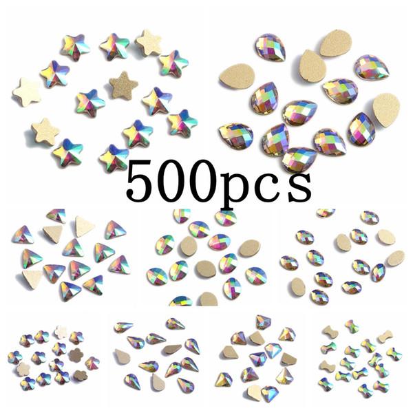 wholesale Nail Gems 500pcs Green Rainbow Glass Rhinestone For Nail Art Decorations Flatback Nail Stickers DIY Craft Art Charm Stones