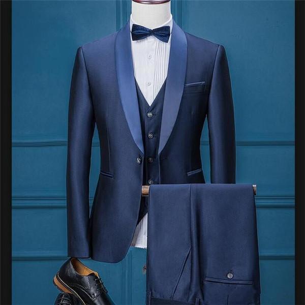 New Fashion Navy Blue Mens Wedding Suits Shawl Lapel Three Piece Groomsmen Tuxedos for Men Prom Dinner Suit (Jacket+Pants+Vest)