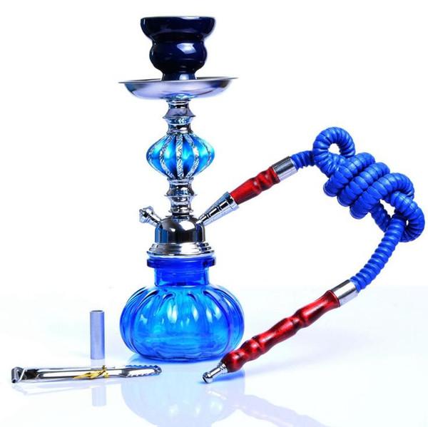 Hookah Shisha Bong Smoking Pipe Set Cool Mini Beautiful Arab Stem Hookah Glass Vase Tools 4 colors 11inch Height One Hose pumpkin diamond