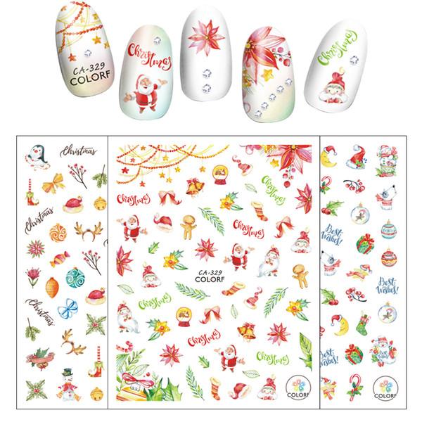 1 Sheet DIY Christmas Nail Art Stickers Santa Claus Snowman Deer Slider Nail Art Full Cover 3D Decoration Drop Shipping