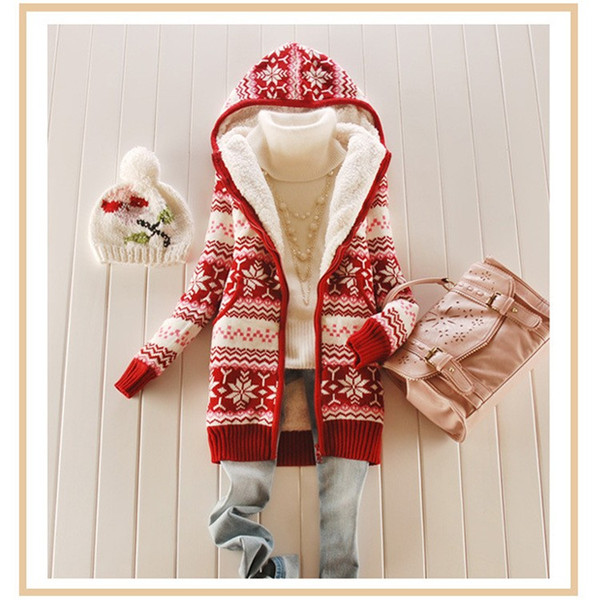 2018 primavera inverno mulheres senhoras floco de neve de malha camisola longa e grossa de lã de algodão cardigan quente com chapéu casaco blusas