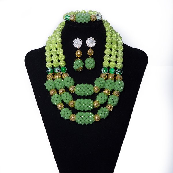Light Green Crystal Ball and Coral Beads Handmade Beaded Necklace African Wedding Bride Beads Jewelry Set Nigerian Jewelry Set for Women
