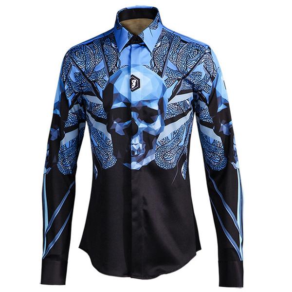 Compre Camisa Con Estampado De Calaveras De Serpiente Hombres Camisa De Vestir Masculina Con Marca De Negocios 2018 Talla Grande M 4xl Casual Con