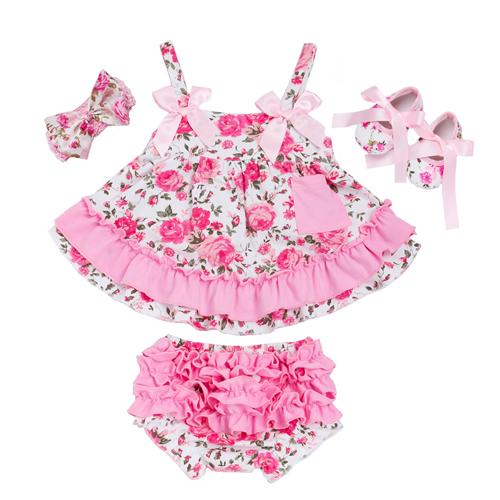 Christmas Summer Style Baby Swing Top Baby Girls Clothing Set Infant Ruffle Outfits Bloomer Headband Newborn Girl Clothes Sets