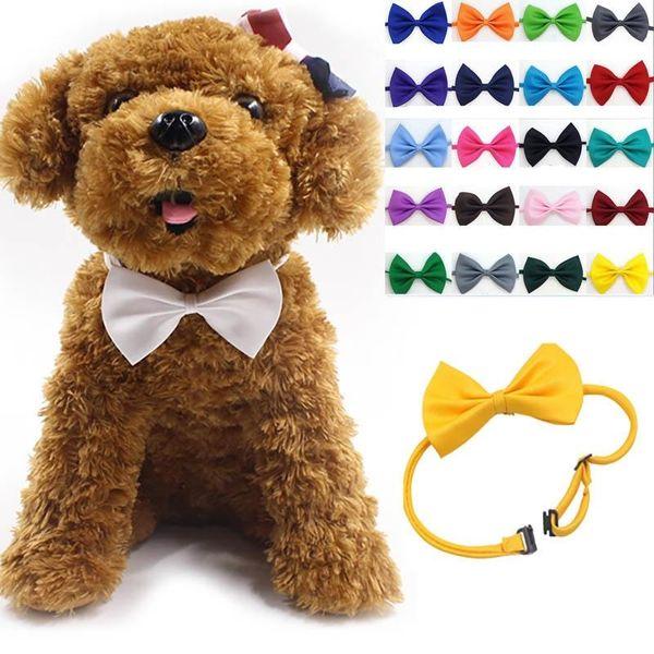 Einstellbare Hundebögen Krawatte Neck Zubehör Halskette Kragen Welpen helle Farbe Pet Bögen Hund Bekleidung Mix Farbe mk582