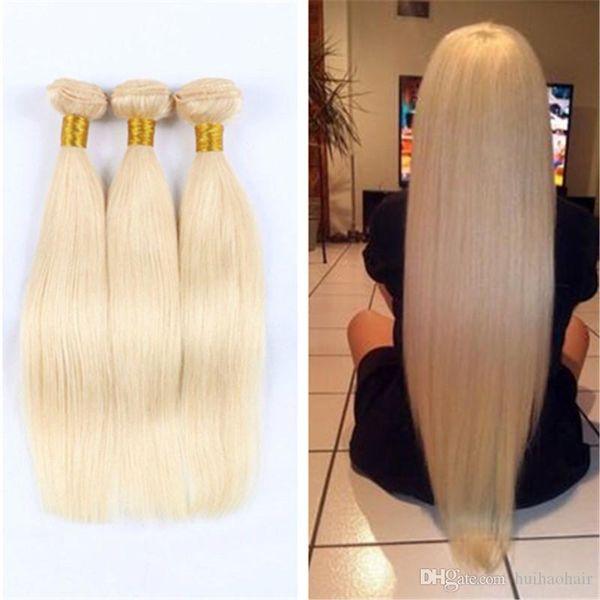 Bleach Blonde 613 Virgin Hair Brazilian Peruvian Indian Malaysian Straight Virgin Blonde Human Hair Weave 3 Bundles Top 10A