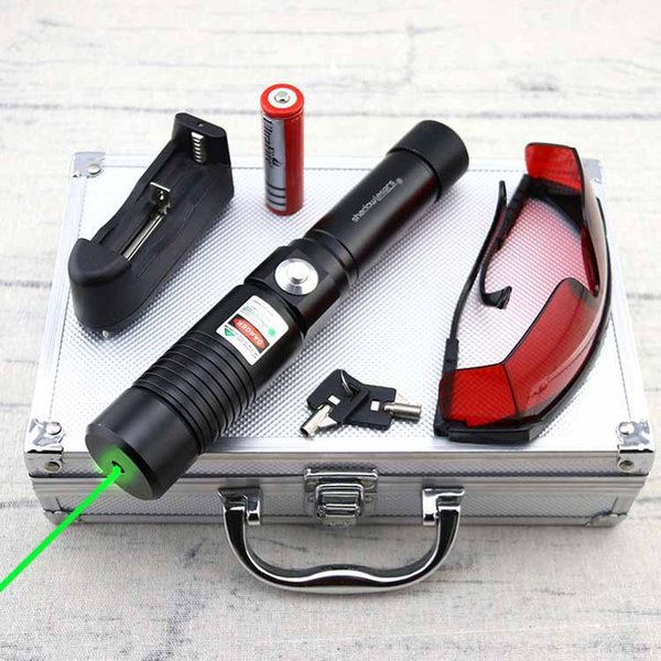GE1-S High Power 532nm Adjustable Focus Green Laser Pointer Pen With Batteries Safety key &Charger &Goggles &Aluminum box