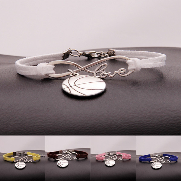 Europe America Popular LOVE Infinity Jewelry Cute Round Basketball Charms Leather Bracelet Women's Jewelry Valentine's Day Gift