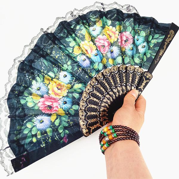 European Style Flower Lace Hand Fan Spanish Folding Fan Dance Props Wedding Party Favors Gifts QW8438