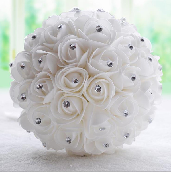 Rhinestones Beautiful White Ivory Bridal Bridesmaid Flowers Wedding Bouquets Artificial Flower Rose Bouquet Crystal Bridal Bouquets Brooch