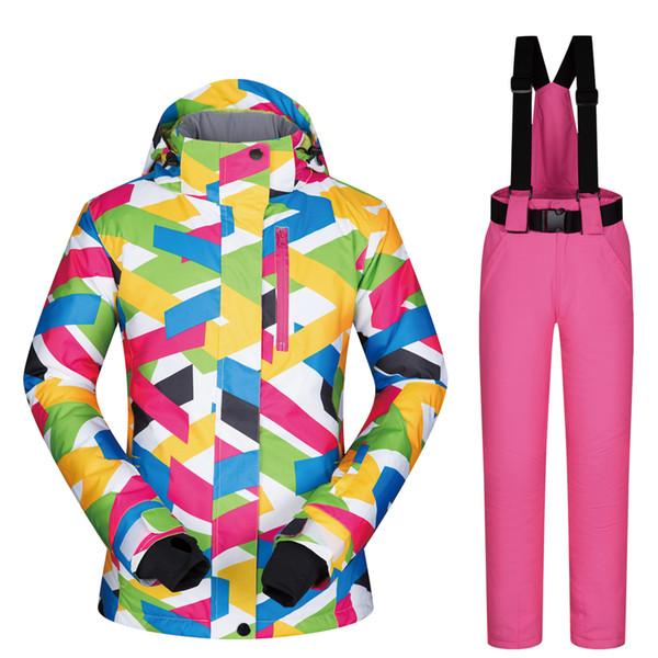 Ski Winter Bunte Qualität Weibliche Skianzug Kleidung Schneehosen Frauen Großhandel Von Set Wasserdicht Snowboard Marken Jacke Hohe Winddicht pUzMqVS