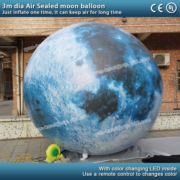 3 Meter Durchmesser luftdicht versiegelte aufblasbare Mondballon-Mondkugel mit der LED-Beleuchtung, die aufblasbaren Ball für Dekoration hängt