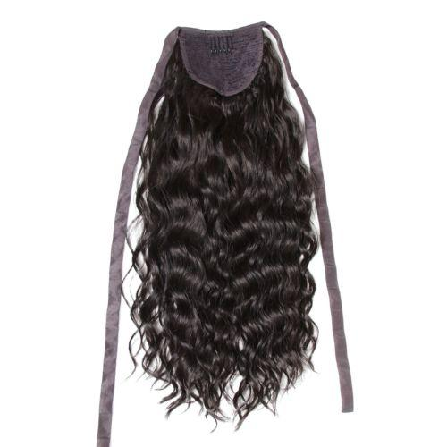 Human hair wavy curly ponytail hairpiece wrap around clip in drawstring brazilian hair drawstring ponytail for black women 120g 4 colors