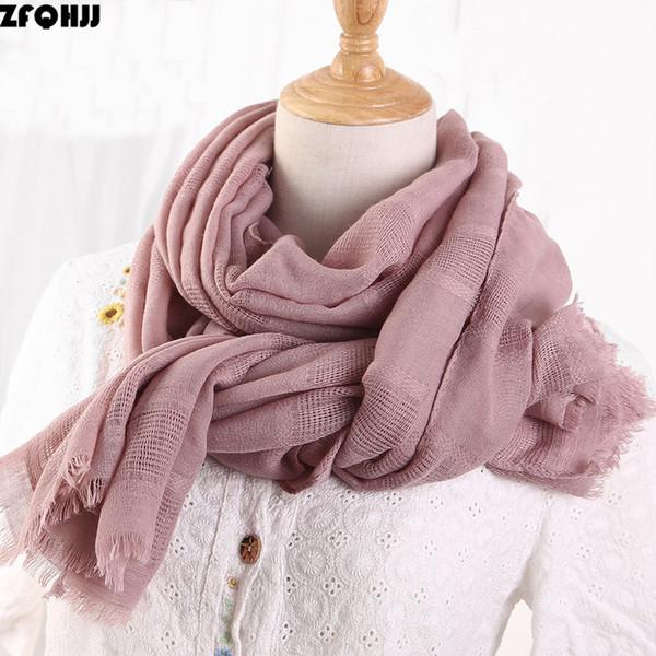 ZFQHJJ 2018 Spring Women Cotton Linen Ethic Hollow Cut Scarf Fringes Large Wraps Stoles  Muslim Hijabs Scarves 190x90cm