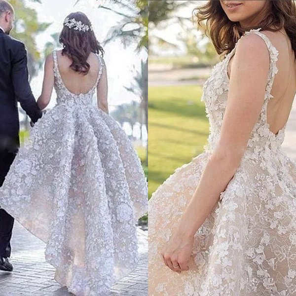 Luxury Beading High-Low Prom Dresses Full Applique Beaded Backless Lace Evening Gown Glamorous Couture Party Dresses Special Occasion Dress
