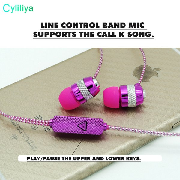 Factory direct deal wholesale shine glitter golden sliver pink earphones earcup headset with microphone mic crystal line 3 Color cp-15