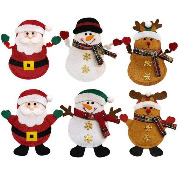Dibujos De Navidad Creativos.Compre Decoraciones De Navidad Hotel De Dibujos Animados Creativos Cubiertos Cubiertos Caso Bolsa De Cubiertos De Santa Mesa De Comedor Cuchillo Set