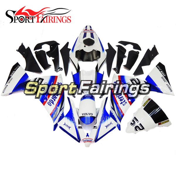 """Pearl White Blue """"52"""" Decals ABS Plastic Injection Full Fairings For Yamaha YZF1000 R1 2012 2013 2014 12 13 14 Motorcycles Fairing Kit Cover"""