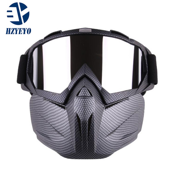 e87d8aef10 HZYEYO Motocross Detachable Modular Mask Goggles And Mouth Filter for  Motorcycle Open Face Vintage Helmet M