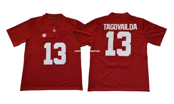 5202dff03 Cheap custom Alabama Crimson Tide Tua Tagovailoa  13 Red College Football  Jerseys Stitched Customize any
