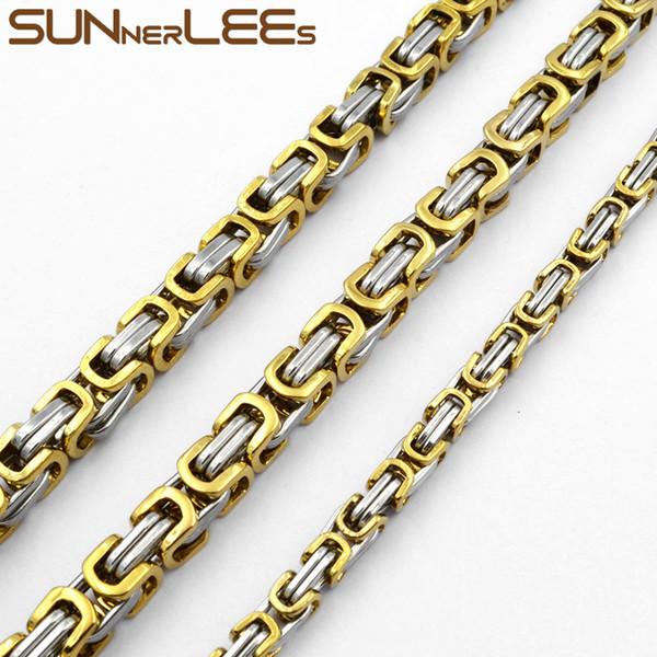 Fashion Jewelry 5mm 7mm 9mm Silver Gold Color Stainless Steel Necklace Byzantine Link Chain For Mens Womens SC09 N