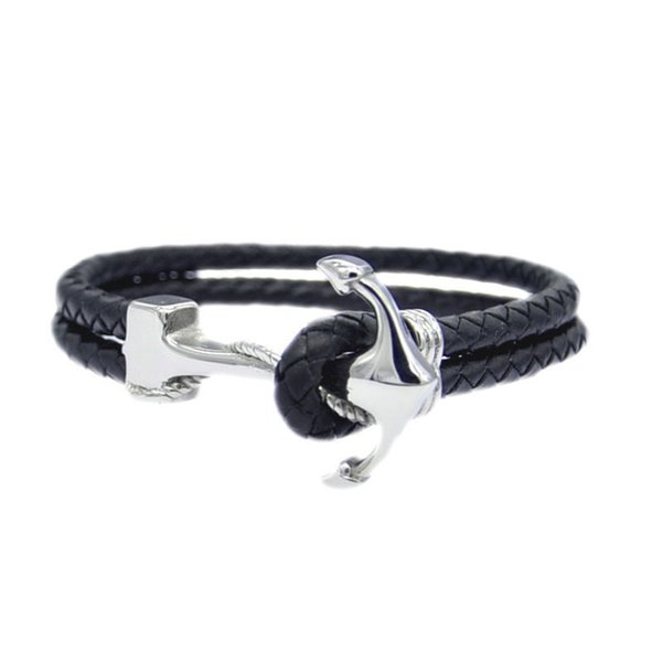 fashion European and American titanium steel jewelry personality anchor stainless steel braided leather bracelet men's Leather Bracelet