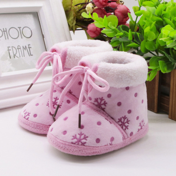 Toddler Newborn Christmas Baby Snow Print Soft Sole Boots Prewalker Warm Shoes Winter Shoes 9.13