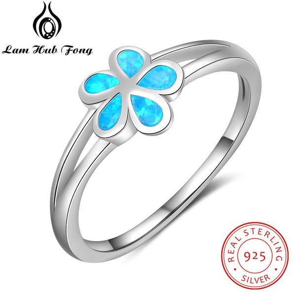 Подлинная стерлингового серебра 925 цветок кольца для женщин создан синий опал обручальное кольцо S925 серебряные ювелирные изделия (Lam Hub Fong)
