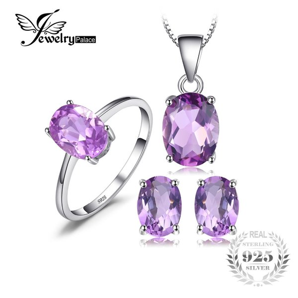 JewelryPalace Oval 4.2ct Natural Gemstone Amethyst Ring Earrings Pendant Necklace Jewelry Set 925 Sterling Silver Jewelry S18101508