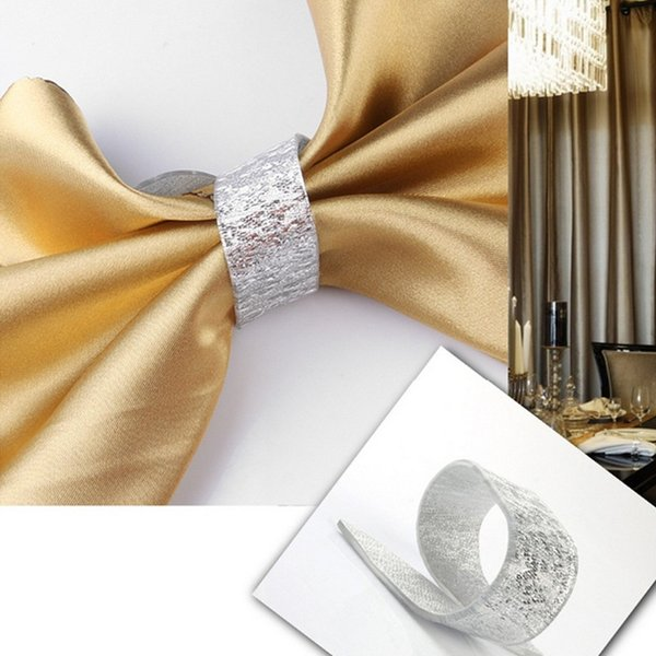 European Table Decoration Alloy 10 x Silver Napkin rings Buckle For Wedding Hotel banquet Cloth ring holder