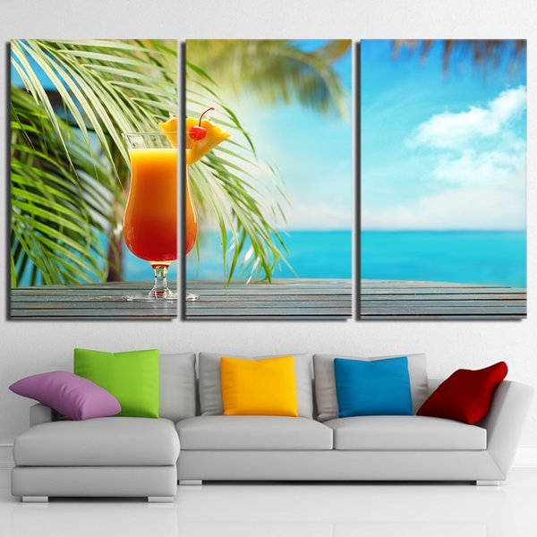 HD Prints Canvas Kitchen Wall Art Posters 3 Pieces Fruit Drink Paintings Tropical Beach Seascape Pictures Framework Home Decor