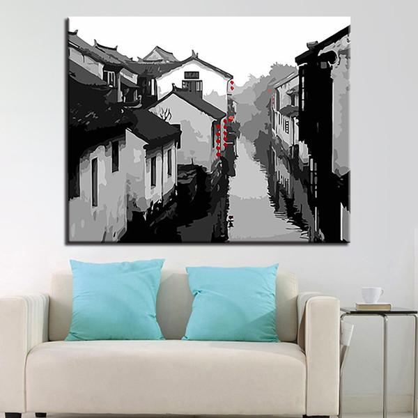Acheter Cadre Peinture à L Huile Par Numéros Kits De Bricolage Colorant Encre Ancienne Ville Sur Toile Décor à La Maison Mur Artisanat Résumé Paysage