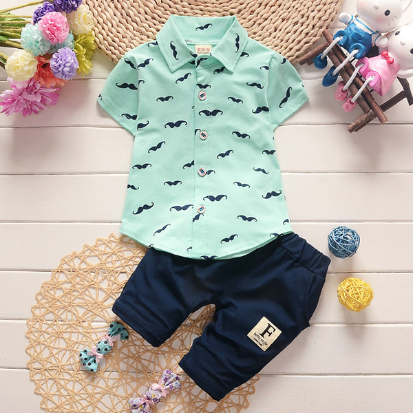 Fashion Party Wedding Baby Boys Girls Children 'S Print Dress Shirts Tops +Pants Summer Clothing Sets 0 -3 Sport Suit