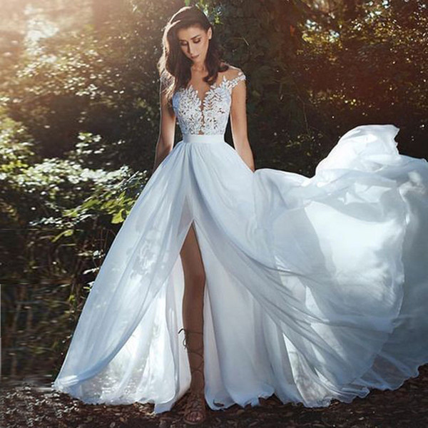 2018 Gorgeous Beach Wedding Dresses Sheer Neck Cap Sleeves Appliques Lace Chiffon Side Split Illusion Back Boho Wedding Gowns Bridal Dresses