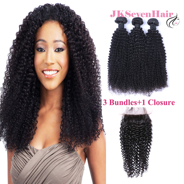 8A Grade Malaysian Curly Wave Human Hair Extensions 3PCS With 4x4Inch Lace Closure Indian Peruvian Vietnamese Hair Weaves Wholesale Price