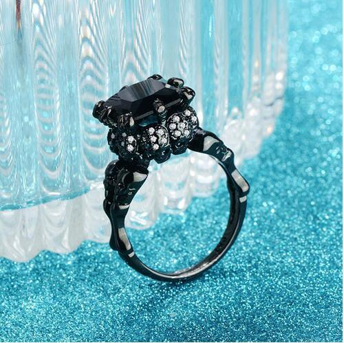 choucong Women Punk Party ring Black Cz Birthstone 10KT Gold Filled Wedding band Ring Sz 5-11 Dropshipping Jewelry